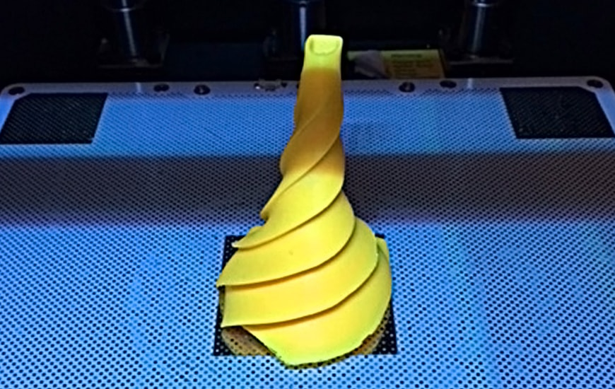 ZORTRAX 3D printed yellow helix