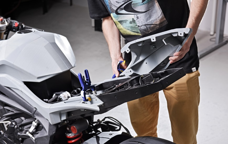 ZORTRAX Engineer Installing 3D Printed Parts of the Motorcycle