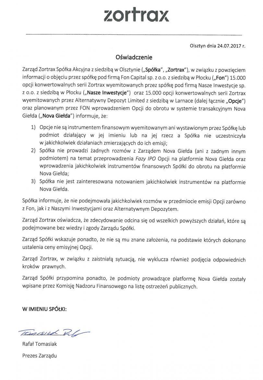 Oswiadczenie Zortrax S.A. 24.07.2017