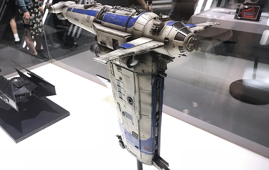 The Resistance Bomber featured in Star Wars: The Last Jedi, exhibited at Comic Con, New York. 2017 copyright Disney & Lucasfilm Ltd. & TM. All rights reserved.
