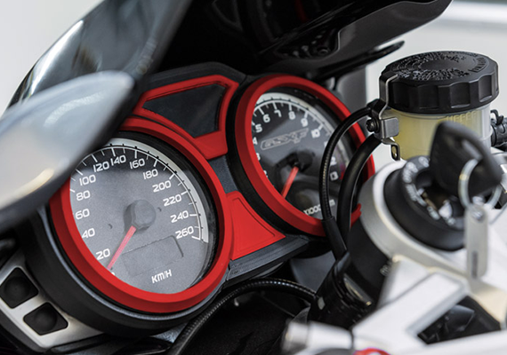 3D printed with a low-cost Z-ABS filament, the prototype of motorcycle speedometer allows engineers to see how this part would work in a full-sized vehicle.